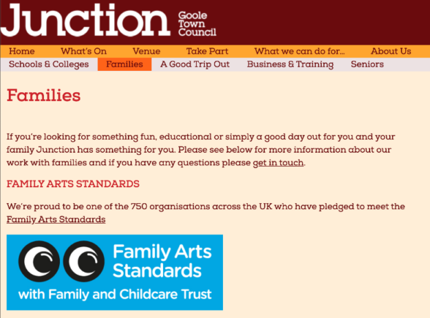 Example of the Family Arts Standards logo being included on a Famlies webpage