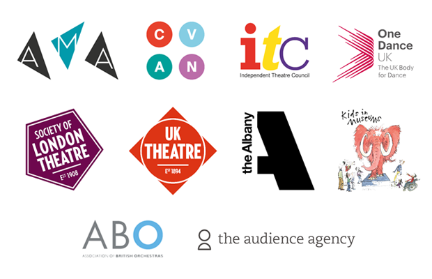 Logos of consortium partners: AMA, CVAN, ITS, One Dance UK, Society of London Theatre, UK Theatre, The Albany, Kids in Museums, ABO, The Audience Agency