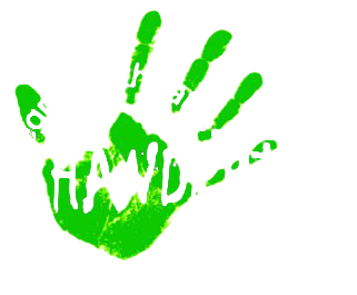 Handprint theatre logo with green handprint