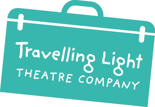 Travelling Light logo of a green suitcase